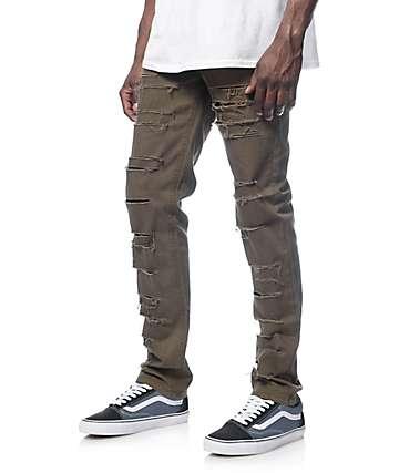 Rustic Dime jeans olivos rallados ajuste ceñido