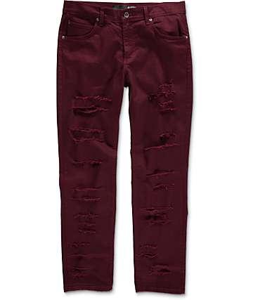 Rustic Dime jeans rotos estrechos en color vino
