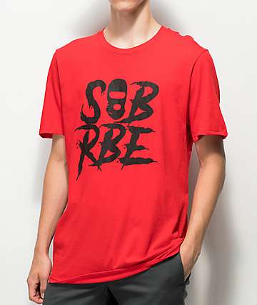 SOB x RBE Ski Mask Red & Black T-Shirt