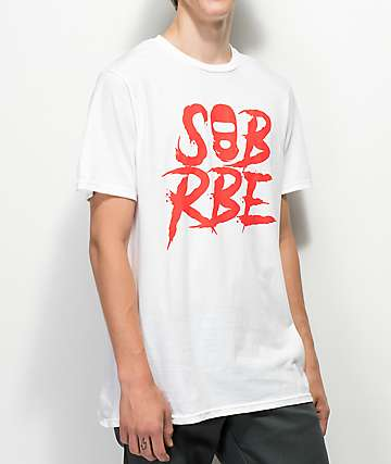 SOB x RBE Ski Mask White & Red T-Shirt