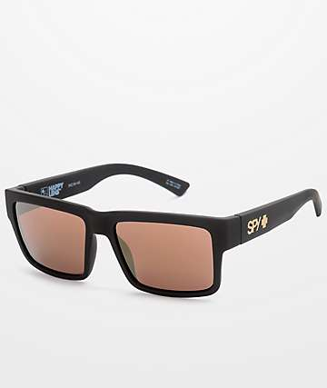 57651d1140 SPY Montana Soft Matte Black   Gold Happy Lens Sunglasses