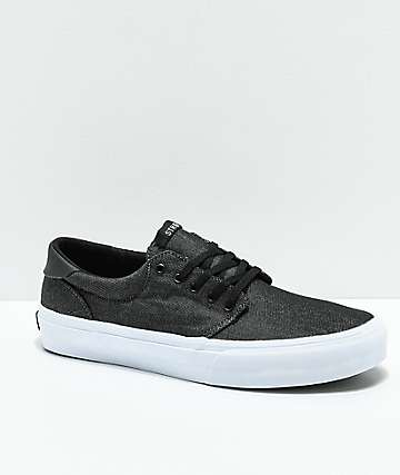 STRAYE Fairfax Black & White Denim Skate Shoes