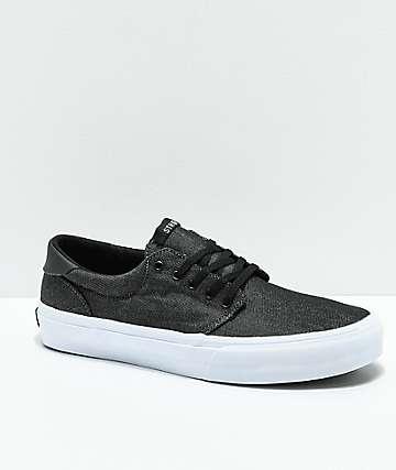STRAYE Fairfax zapatos de skate de mezclilla negro y blanco