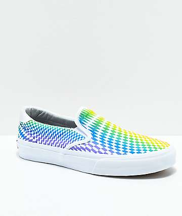 STRAYE Ventura Rainbow Checkered Slip-On Skate Shoes