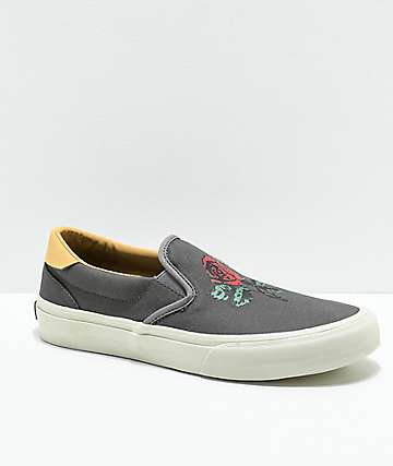 STRAYE Ventura Rose Slip-On zapatos de skate en gris y blanco