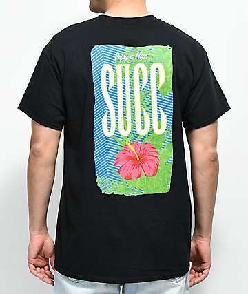 SUCC Nice Succ Flower Black T-Shirt