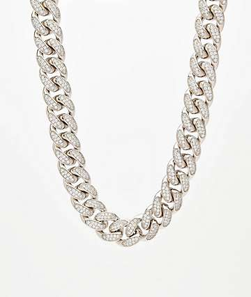 "Saint Midas 18mm CZ Cuban Link 22"" White Gold Chain Necklace"