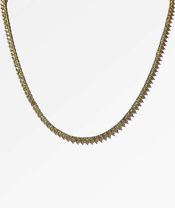 "Saint Midas 3 Prong 18"" Yellow Gold Tennis Chain Necklace"