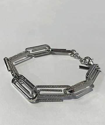 Saint Midas CZ Paper Clip White Gold Bracelet