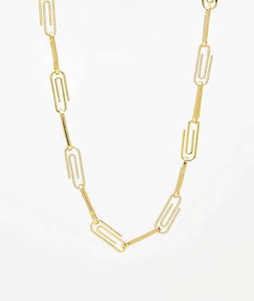 "Saint Midas CZ Paper Clip Yellow Gold 22"" Chain Necklace"