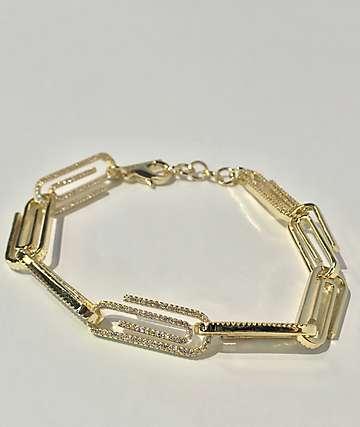 Saint Midas CZ Paper Clip Yellow Gold Bracelet