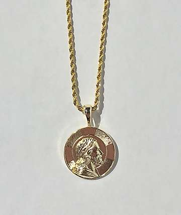 Saint Midas Icon Medallion Gold Necklace