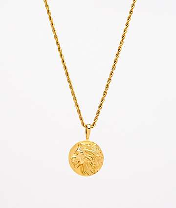 "Saint Midas Lion Medallion Yellow Gold 20"" Rope Chain Necklace"
