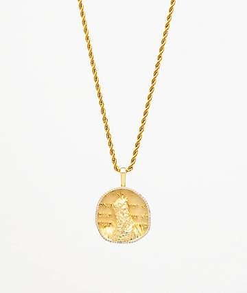 "Saint Midas Michelangelo's Moses Yellow Gold 20"" Rope Chain Necklace"