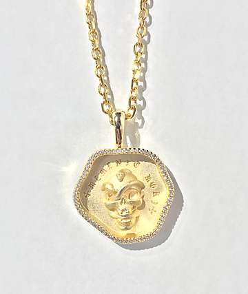 Saint Midas Momento Mori Gold Cable Necklace