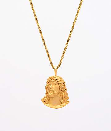 "Saint Midas New Jesus Yellow Gold 20"" Rope Chain Necklace"