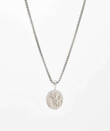 "Saint Midas St. Christopher White Gold 20"" Necklace"