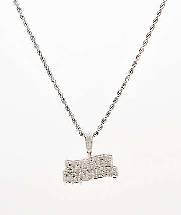 "Saint Midas x Broken Promises Mini Iced Wave 20"" Silver Rope Chain Necklace"