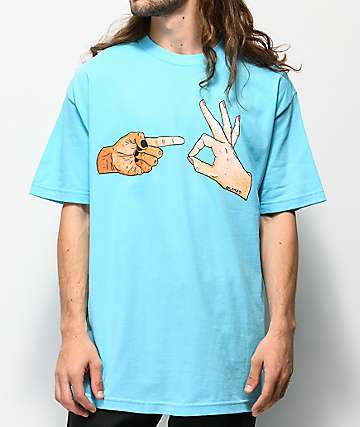 Salem7 Hand Signs Blue T-Shirt