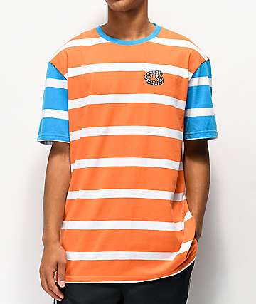 Salem7 Jeffery Orange, Blue & White Stripe T-Shirt