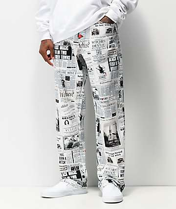 Salem7 Newsprint White & Black Pants