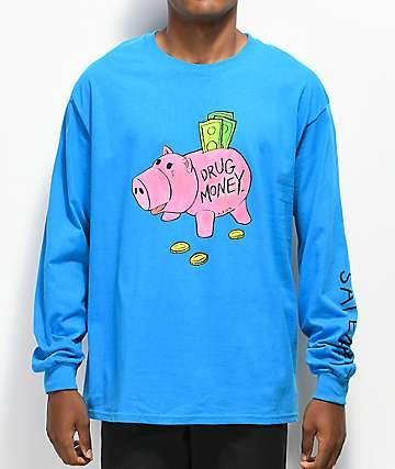 Salem7 Piggy Bank camiseta de manga larga azul
