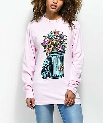 Salem7 Trash Can Pink Long Sleeve T-Shirt