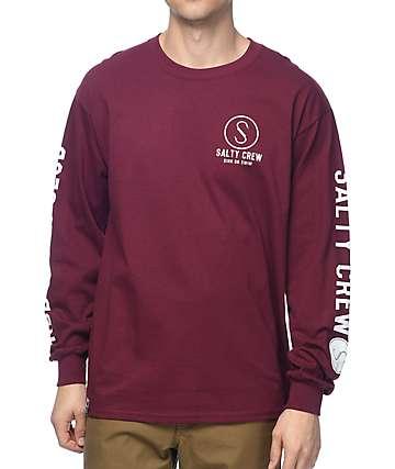 Salty Crew Ballast Burgundy Long Sleeve T-Shirt