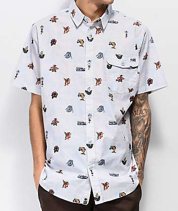 Salty Crew Bonzarelly Blue Woven Short Sleeve Button Up Shirt