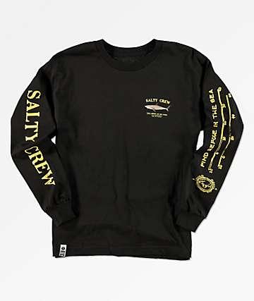 Salty Crew Bruce camiseta negra de manga larga para niños