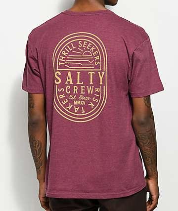 Salty Crew Convoy Burgundy T-Shirt