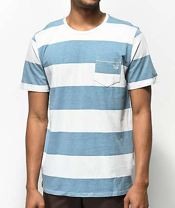 Salty Crew Deckhand Blue & White Stripe T-Shirt