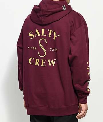 Salty Crew Hook Burgundy Hoodie