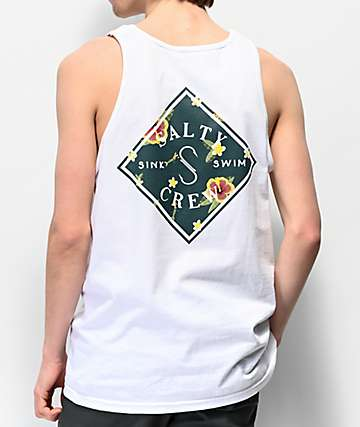 Salty Crew Island Time White Tank Top