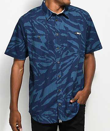 Salty Crew Kelped Out Navy Short Sleeve Button Up Shirt
