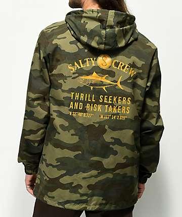 Salty Crew Market chaqueta con capucha de camuflaje