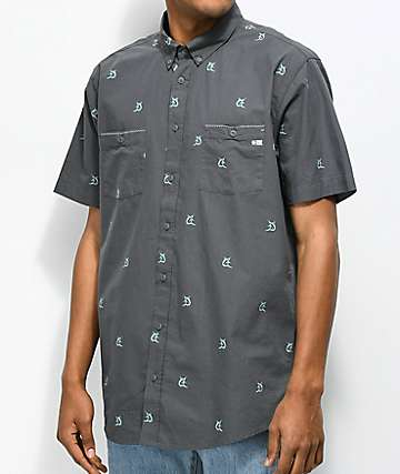 Salty Crew Mini Marlins Charcoal Short Sleeve Button Up Shirt