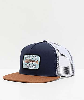 Salty Crew Paddle Tail Navy & Tan Trucker Hat