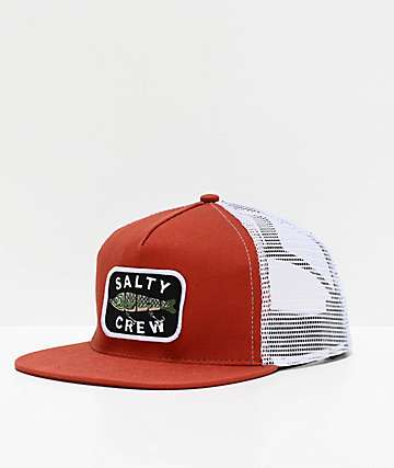 Salty Crew Paddle Tail Rust & White Trucker Hat