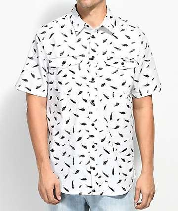 Salty Crew Popper Fish Print White Short Sleeve Button Up Shirt