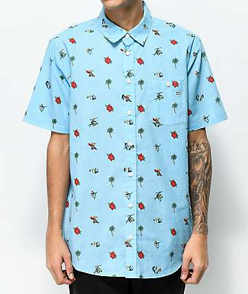 Salty Crew Rocks & Docks Blue Short Sleeve Button Up Shirt