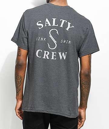 Salty Crew S Hook Heather Grey T-Shirt
