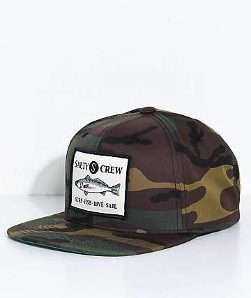 Salty Crew Sea Bass Camo Snapback Hat