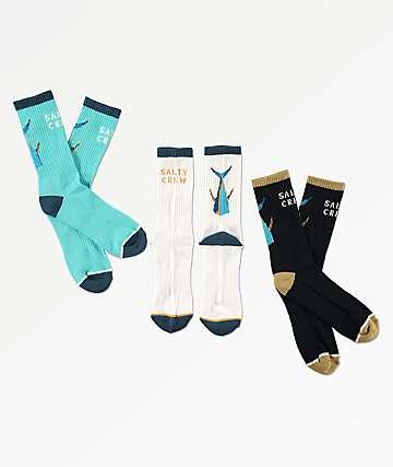 Salty Crew Tailed Black, Light Blue & White 3 Pack Crew Socks