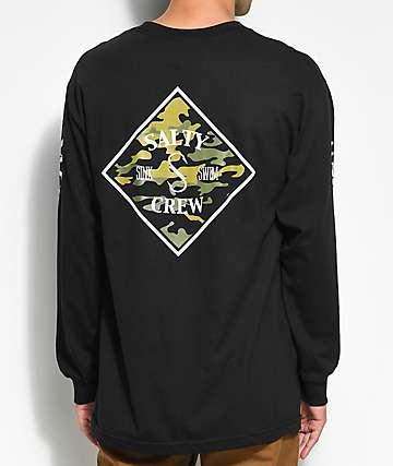 Salty Crew Tippet Black & Camo Long Sleeve T-Shirt
