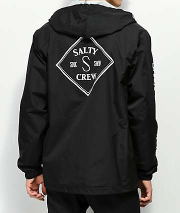 Salty Crew Tippet Black Hooded Coaches Jacket