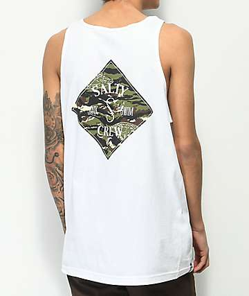Salty Crew Tippet Cover camiseta sin mangas en blanco y camuflaje