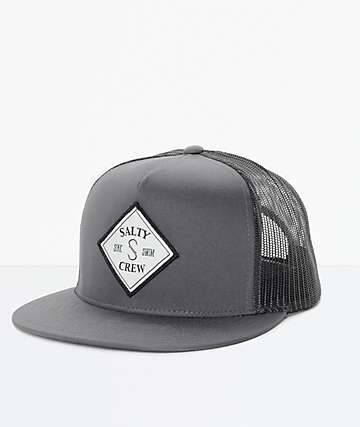 83e0f4cc77fb71 Salty Crew Tippet Grey & Black Trucker Hat