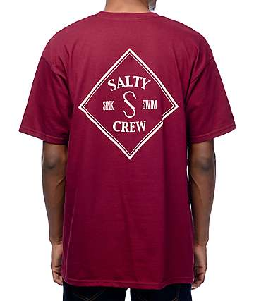 Salty Crew Tippet camiseta de color granate