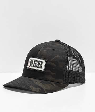 Salty Crew Topstitch Retro Black & Green Camo Trucker Hat